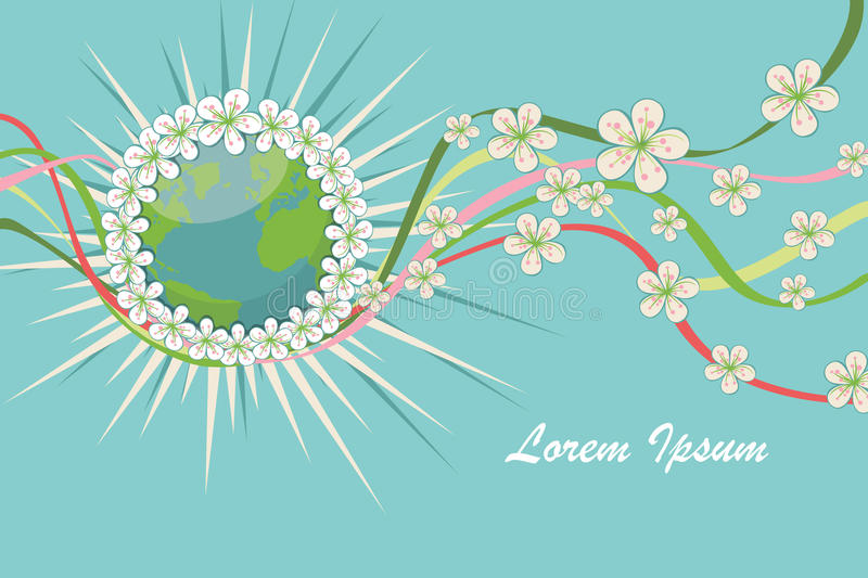 Planet earth with spring flowers,curly ribbons.eps royalty free illustration