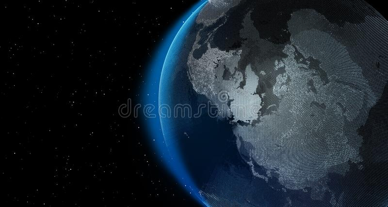 Planet earth with stars at night, 3d graphic render stock illustration