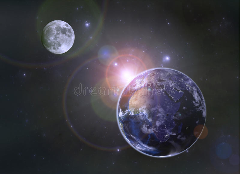 Planet Earth and the Sun royalty free illustration