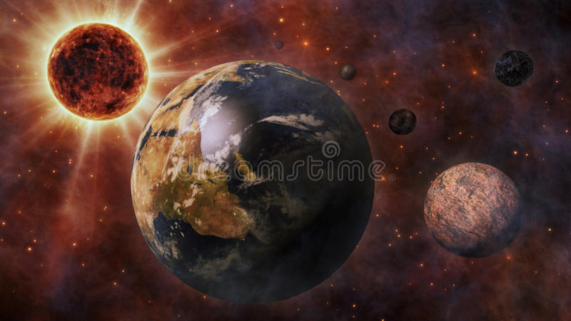 Planet Earth, The Sun, The Moon and Planets 3D Rendering stock illustration