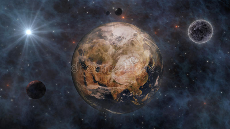 Planet Earth, The Sun, The Moon and Planets In Space 3D Rendering stock illustration