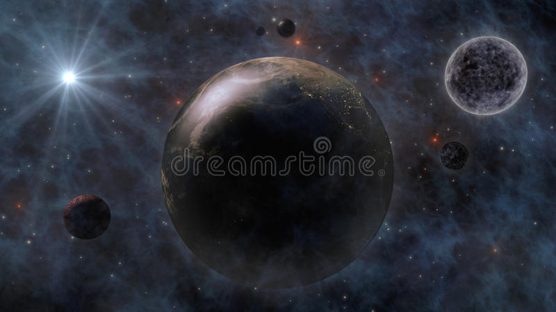 Planet Earth, The Sun, The Moon and Planets In Space 3D Rendering vector illustration