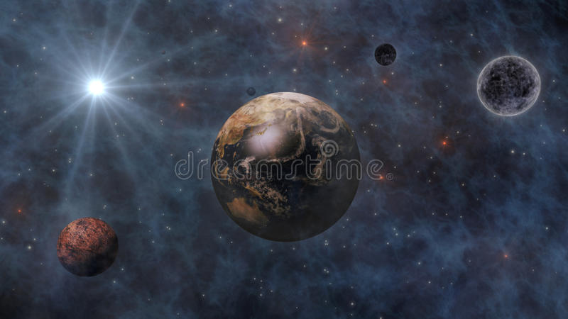 Planet Earth, The Sun, The Moon and Planets In Space 3D Rendering royalty free illustration