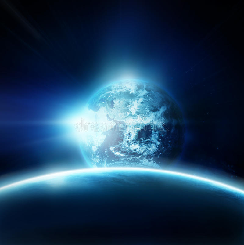 Planet earth with sun rising from space stock illustration