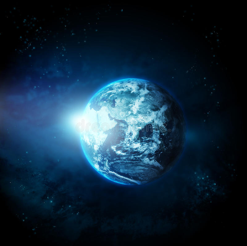 Planet earth with sun rising from space-original image from NASA stock illustration