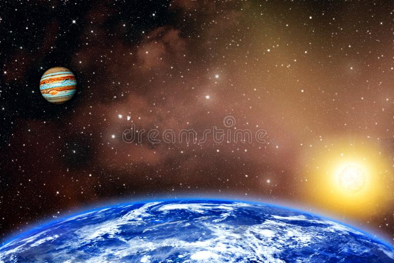 Planet Earth and sun . star the Sun is close stock images