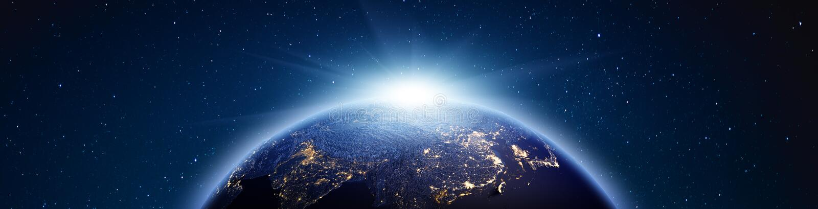 Planet Earth sunrise panorama. 3d rendering stock images