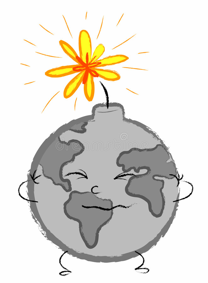Planet Earth time bomb vector illustration