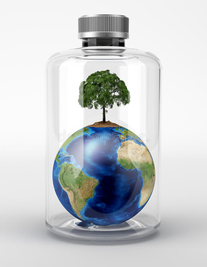 Planet Earth with a tree on top, inside a glass bottle. vector illustration