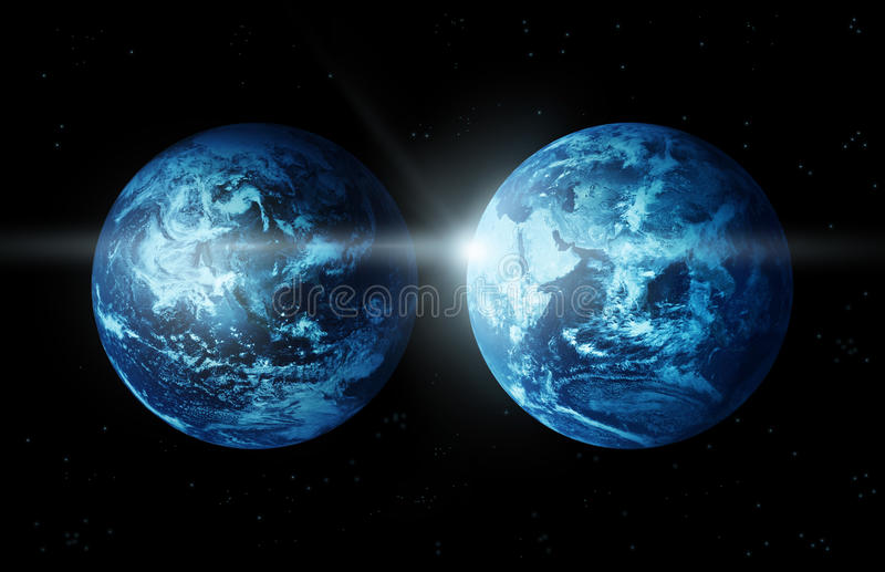 Planet earth two continent with sun rising from space-original image from NASA vector illustration