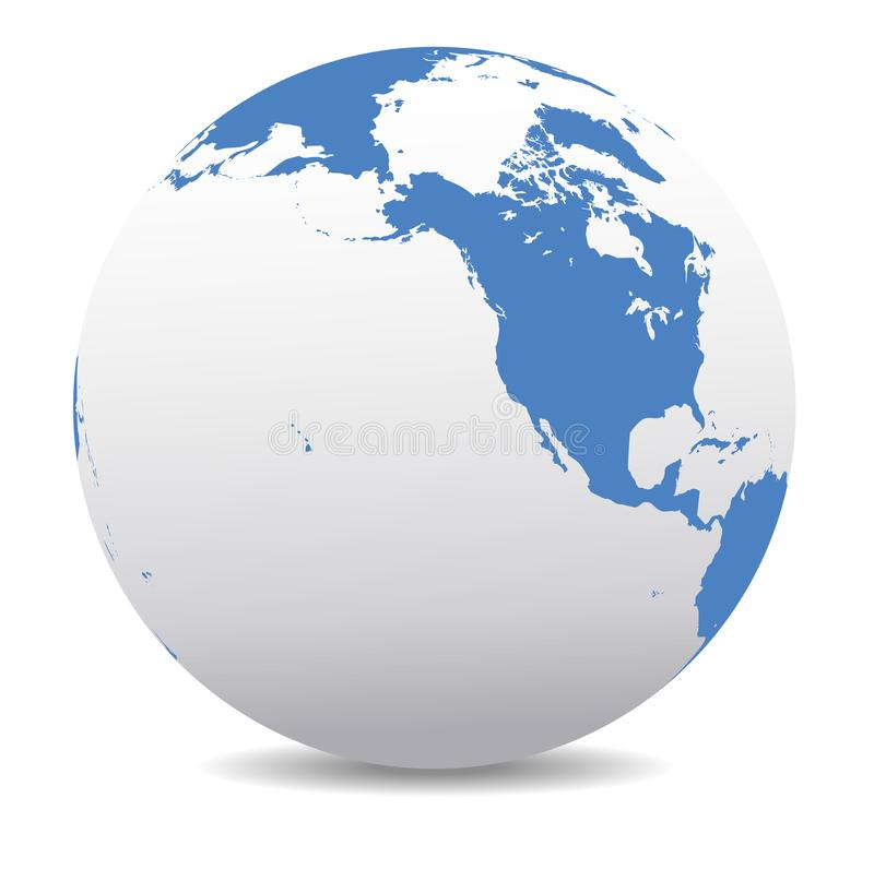 North America, Canada, Siberia and Hawaii Global World Earth. Planet Earth Vector Map Icon of the World Globe showing North America, Canada, Siberia and Hawaii royalty free illustration