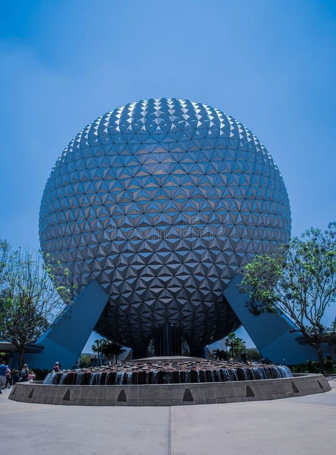 Planet Earth with waterfountain - Walt Disney World. Planet Earth with water fountains at Epcot Center, Walt Disney World, Florida, USA. May 2017 royalty free stock image