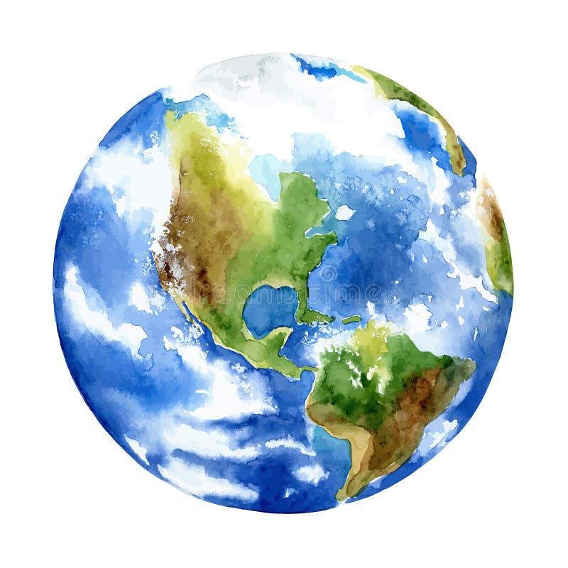 Planet earth on white background stock illustration