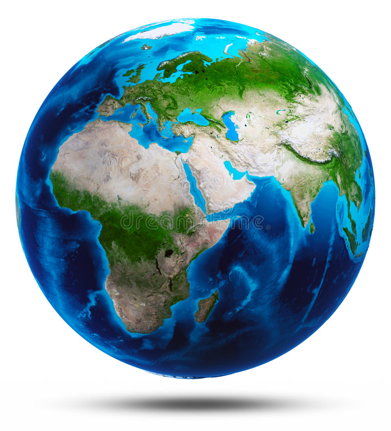 Planet Earth white isolated royalty free stock photos