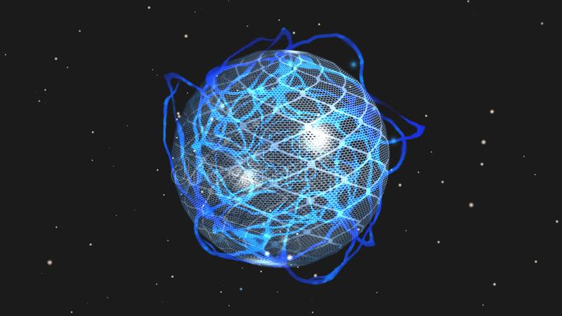 Planet in electrinic storm in front on stars background royalty free illustration