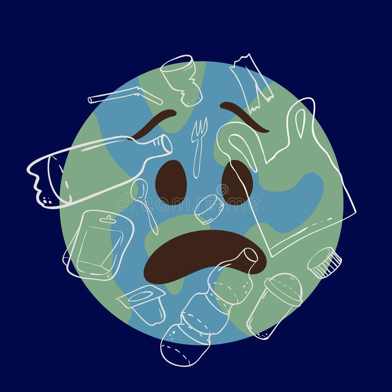 Planet emoji in awe abused by plastic waste and debris. Such as bottles, bags, containers, straws, caps - consept of global environment plastic pollution vector illustration