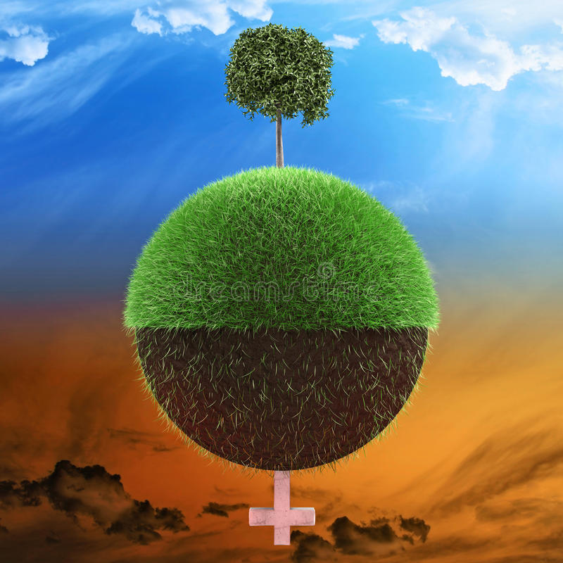Planet environment concept. Planet illustrated with one half with healthy tree and other half with less grass and a tombstone 3d illustration stock illustration