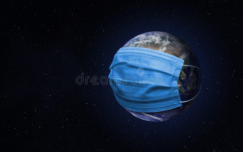 Planet Erde mit Gesichtsmaske Concept pandemic vektor abbildung