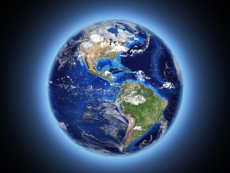 Planet Erdlichter im Raum 3d lizenzfreie abbildung