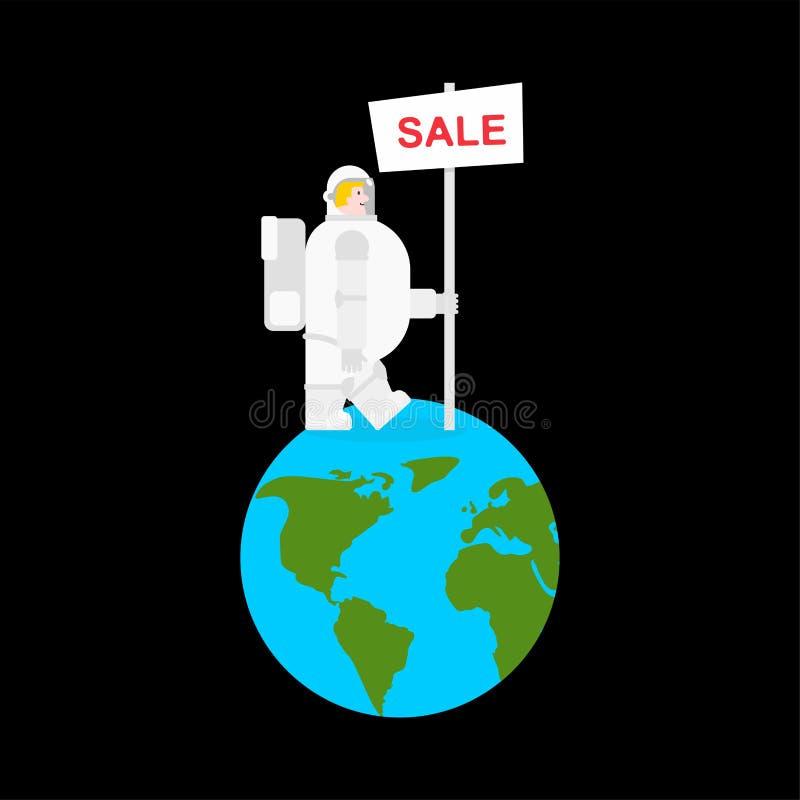 Planet för astronaut- och försäljningsbanerjord Kosmonautsäljare spacem vektor illustrationer