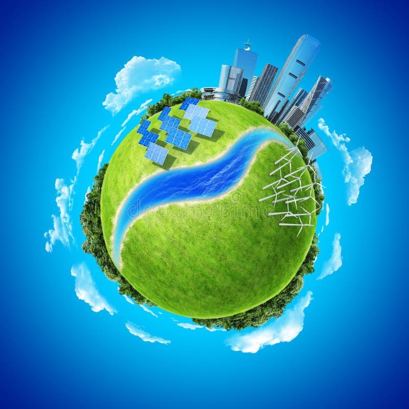 planet för green för stadsbegreppsenergi minimodernt stock illustrationer