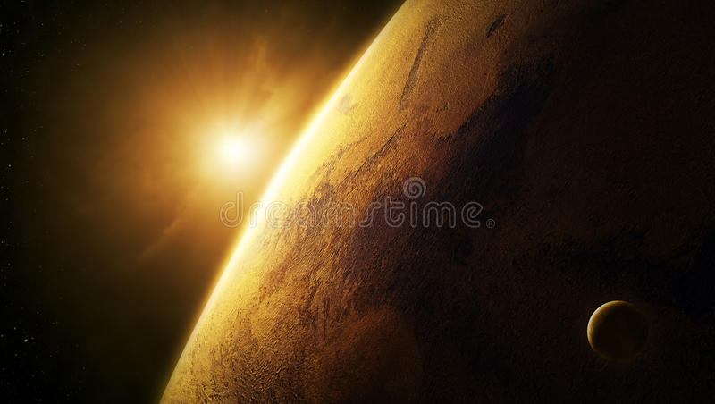 Planet fördärvar närbild med soluppgång i utrymme royaltyfri illustrationer