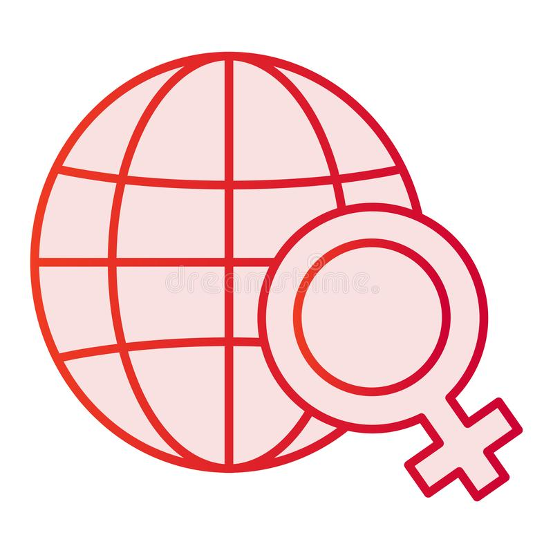 Planet with female symbol flat icon. Womens day pink icons in trendy flat style. Earth with gender sign gradient style. Design, designed for web and app. Eps 10 stock illustration