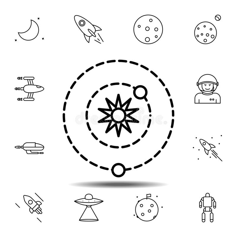 Planet, galaxy, space, orbit icon. Simple thin line, outline vector element of Space icons set for UI and UX, website or mobile. Application on white background royalty free illustration