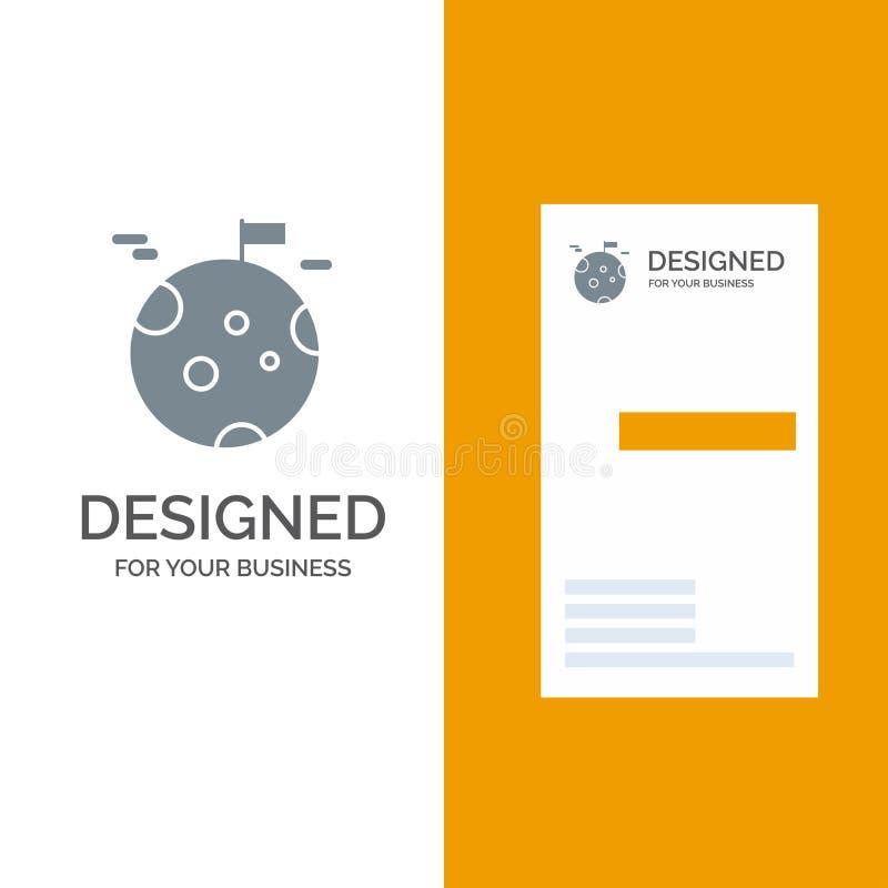 Planet, gas, jätte, utrymme Grey Logo Design och mall för affärskort vektor illustrationer