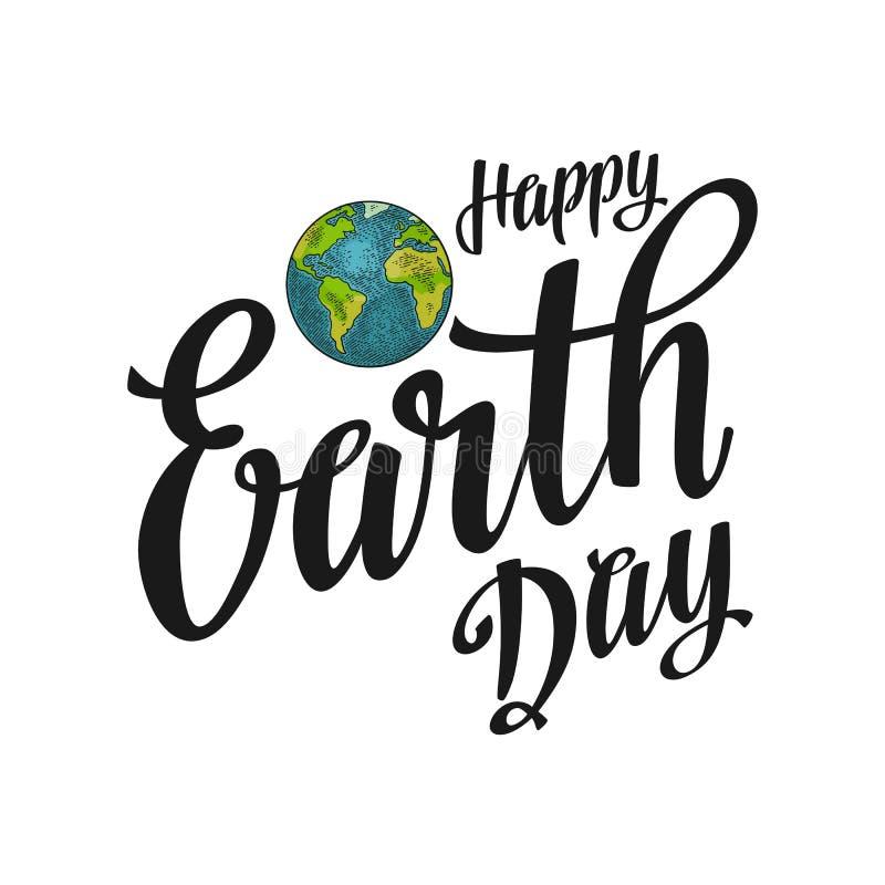 planet Glückliche Tag der Erde-Beschriftung Vektorfarbweinlese-Stichillustration vektor abbildung