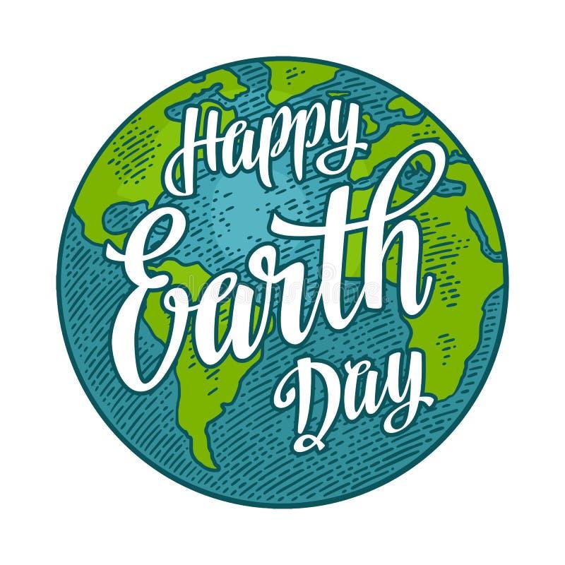 planet Glückliche Tag der Erde-Beschriftung Vektorfarbweinlese-Stichillustration lizenzfreie abbildung