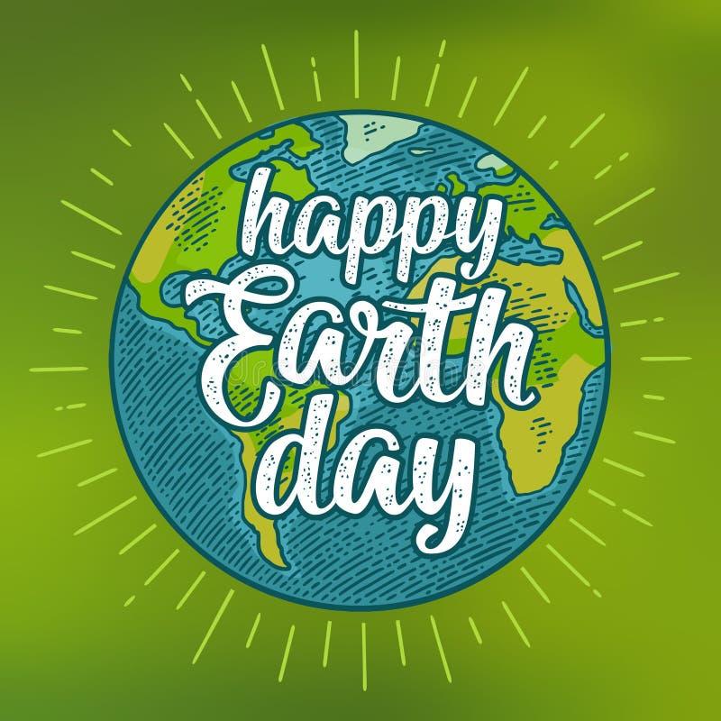 planet Gl?ckliche Tag der Erde-Beschriftung Vektorfarbweinlese-Stichillustration stock abbildung