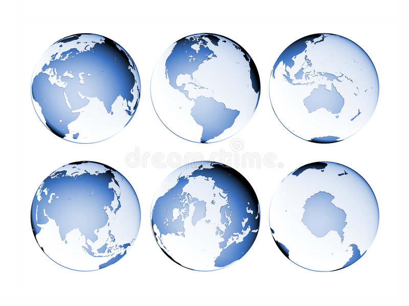 Planet Globe Earth map isolated. Six blue (aquamarine) colored globe Earth illustrations with different views and countries stock illustration