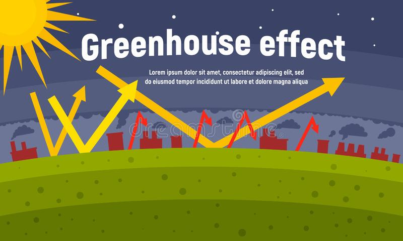 Planet greenhouse effect concept banner, flat style. Planet greenhouse effect concept banner. Flat illustration of planet greenhouse effect vector concept banner stock illustration