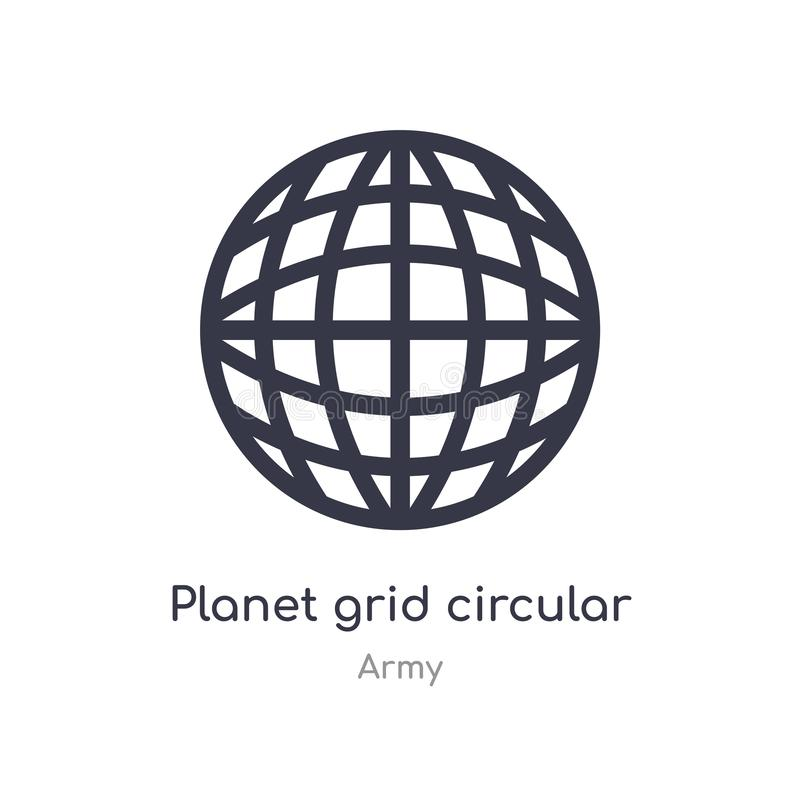 Planet grid circular outline icon. isolated line vector illustration from army collection. editable thin stroke planet grid. Circular icon on white background stock illustration