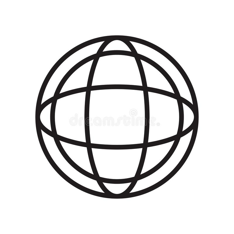Planet grid circular symbol icon vector sign and symbol isolated on white background, Planet grid circular symbol logo concept royalty free illustration
