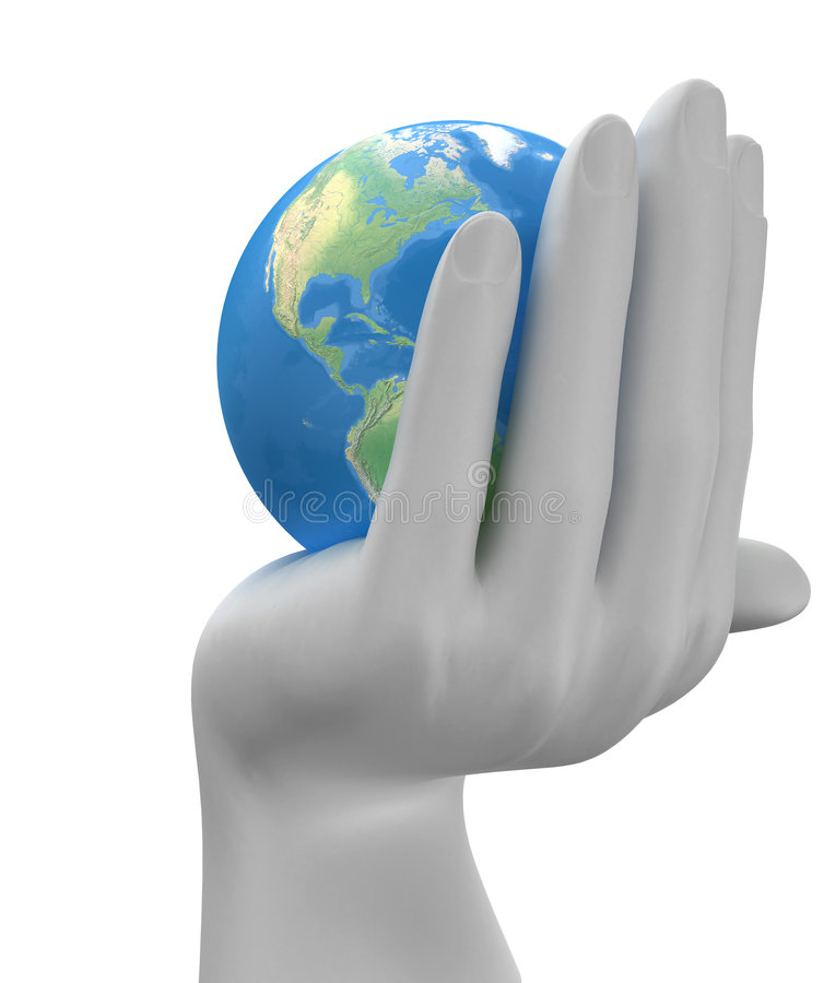 Planet in the hands stock illustration