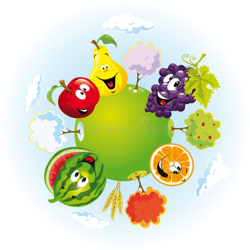 Planet with happy fruits vector illustration