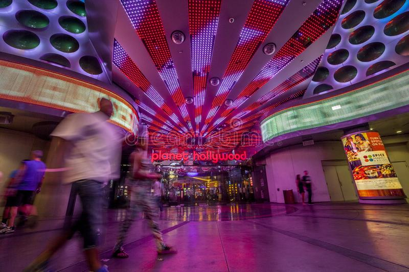 Planet Hollywood en la tira colorida de Las Vegas, Estados Unidos de A fotos de archivo libres de regalías