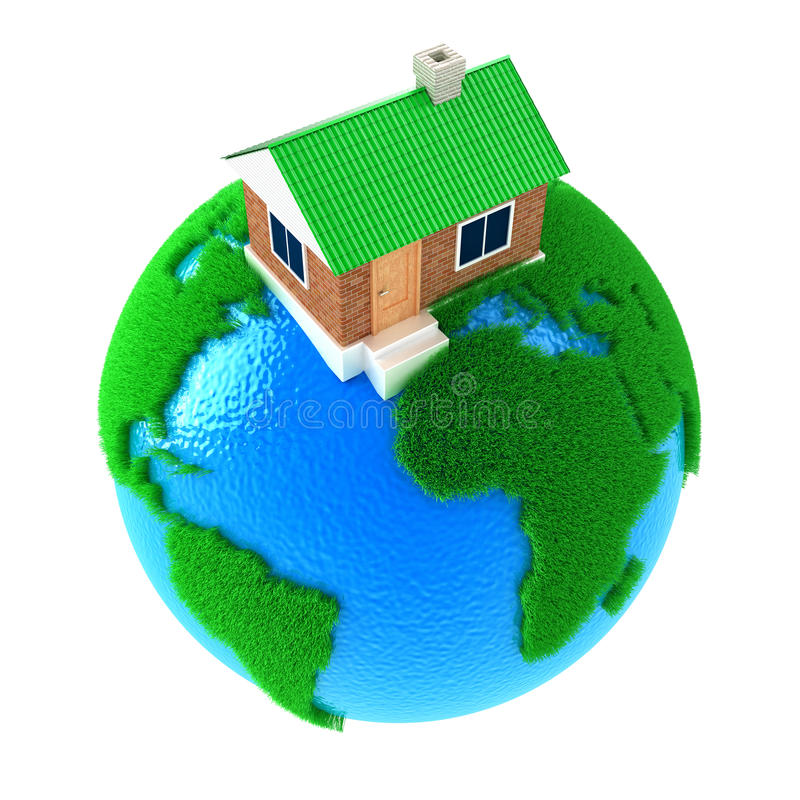 Planet with house stock illustration