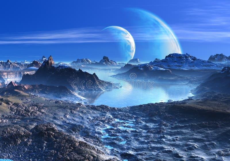 Planet i omlopp över blått laken och berg stock illustrationer