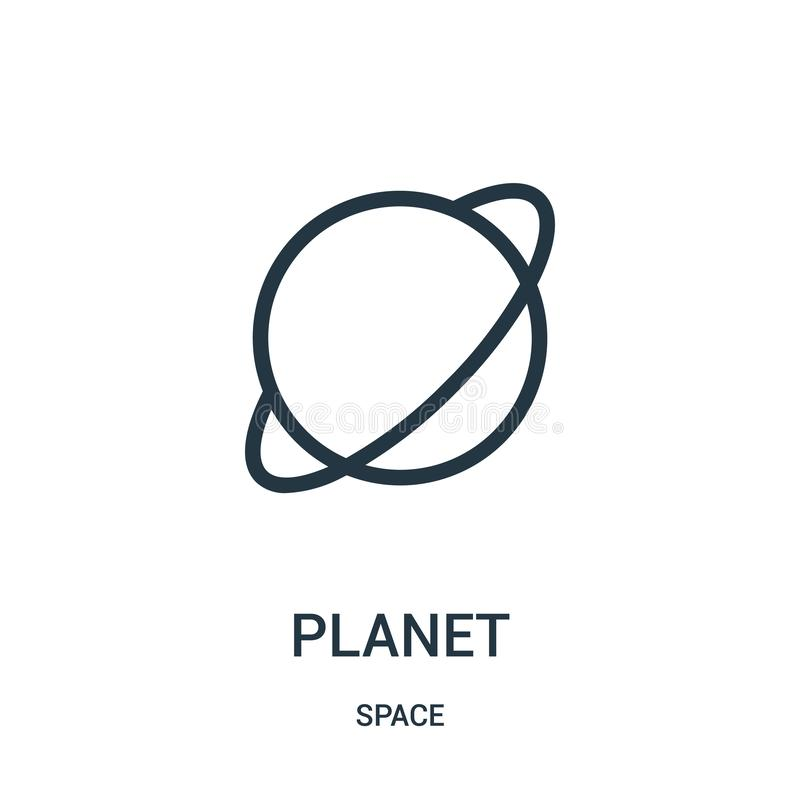 planet icon vector from space collection. Thin line planet outline icon vector illustration royalty free illustration