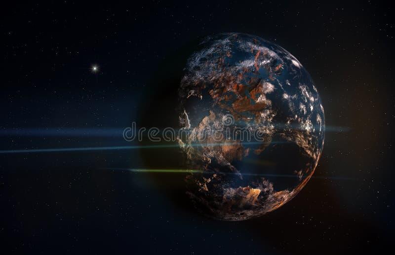 Planet im Raum mit Sternen und Anamorphic Aufflackern vektor abbildung