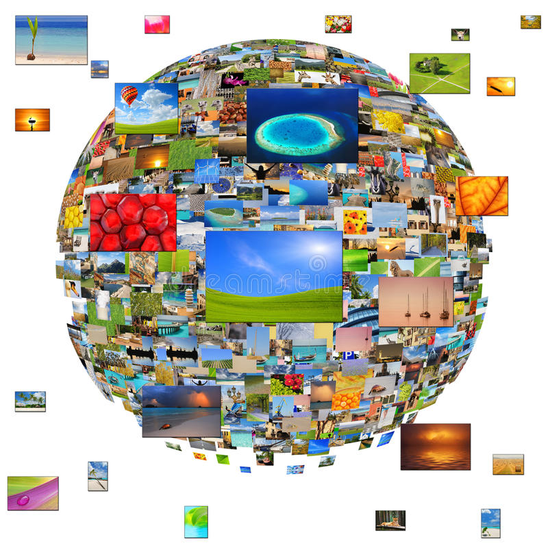 Planet of images. Conceptual collage - planet of images. Isolated on white background stock photos