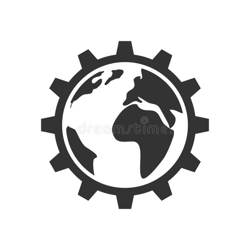 Planet inom kugghjulsymbolen royaltyfri illustrationer