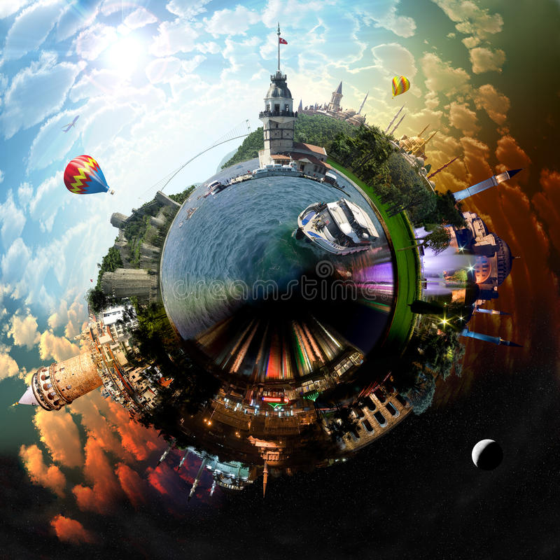 Planet Istanbul vektor illustrationer