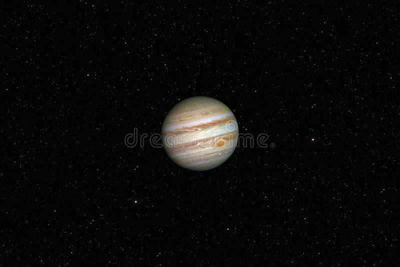 Planet Jupiter against dark starry sky background in Solar System royalty free stock image