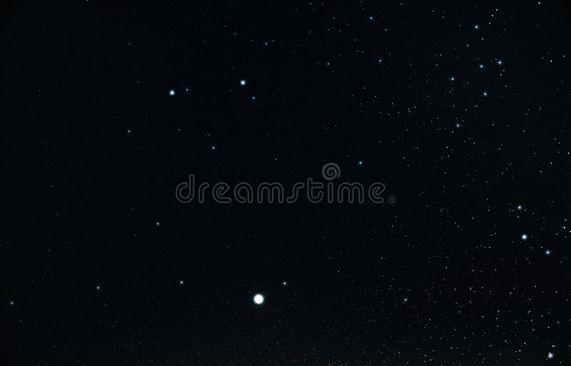 Planet Jupiter and the constellation of the twins stock images