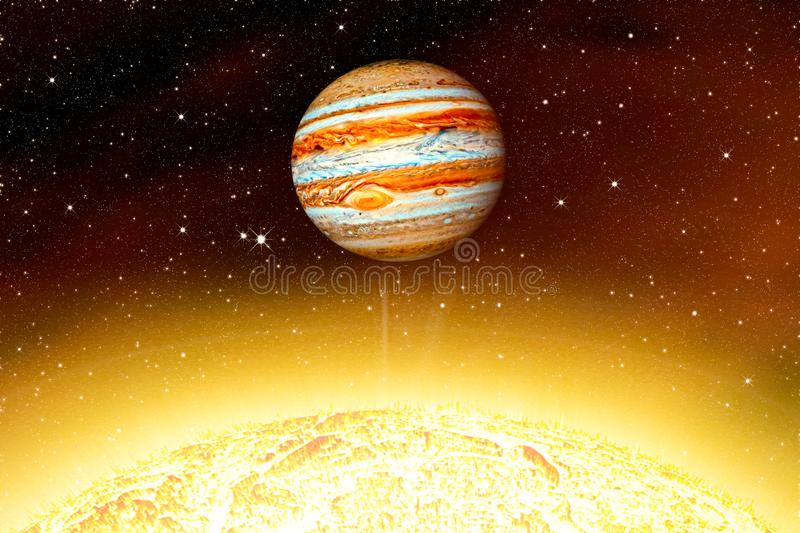 Star the Sun is close. Planet Jupiter  .  This image elements furnished by NASA . star the Sun is close royalty free stock photography