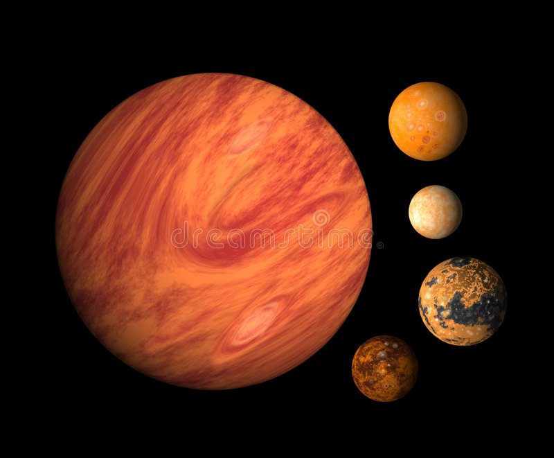Planet Jupiter And Moons Stock Illustration Illustration